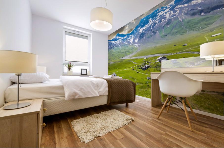 High Alps Village in Spring Switzerland Mural print