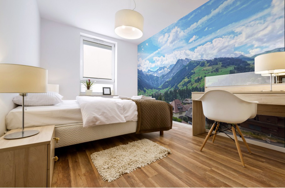 Beautiful Day in the Swiss Alps Mural print