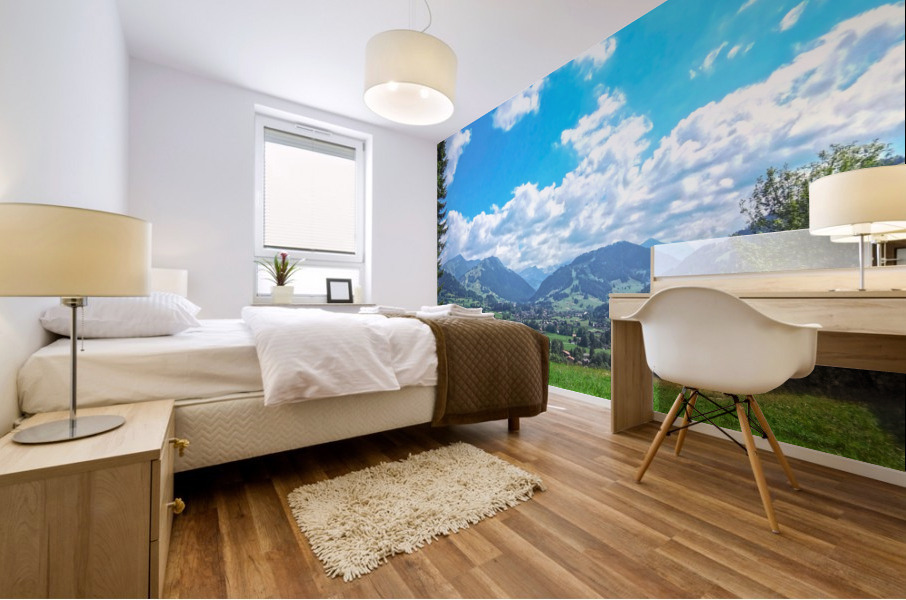 The Last Paradise in a Crazy World Gstaad Switzerland Mural print