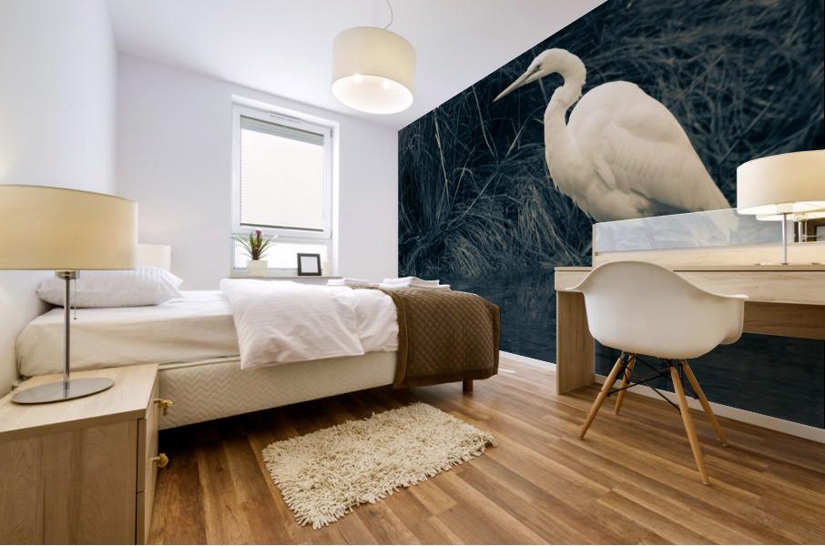 Great White Egret ap 1839 B&W Mural print