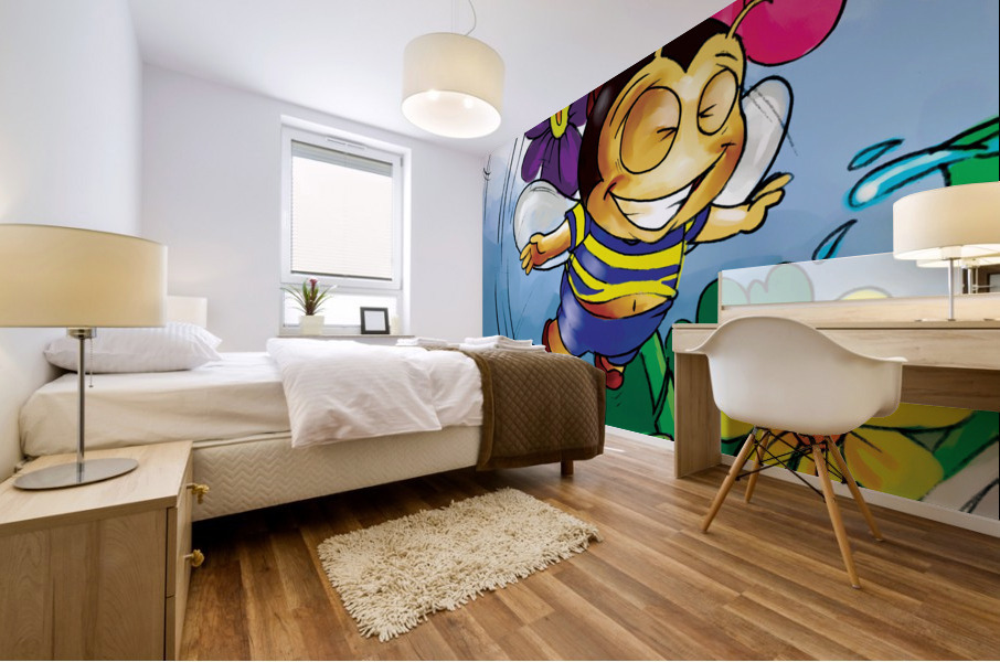 Happiness - Flower Power Buster Bee Mural print