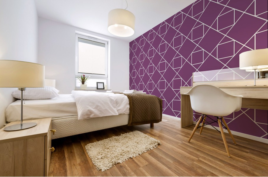 Light Purple Squares And Diamonds Pattern Mural print