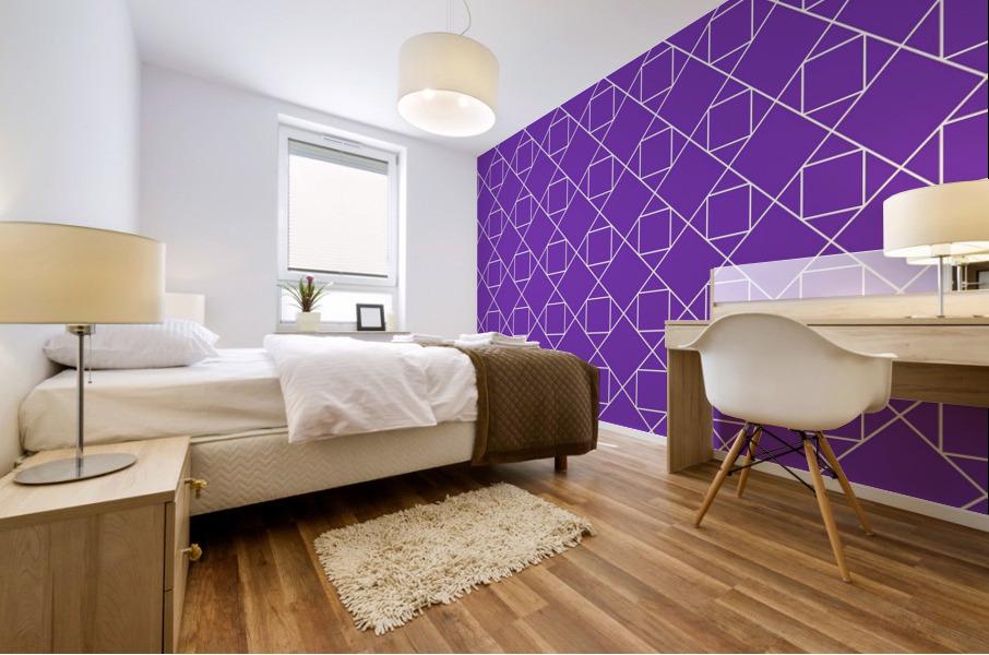 Purple Squares And Diamonds Pattern Mural print