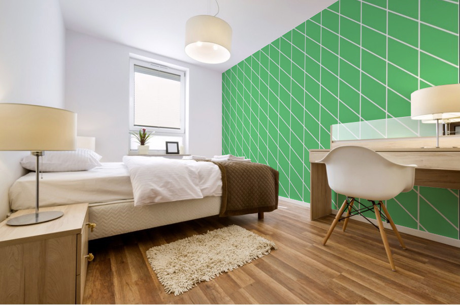 Green Color Checkers Pattern Mural print