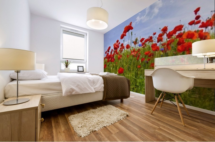 Field of Red Poppies Mural print