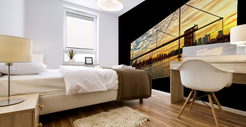 Amazing Sunset over river Mural print