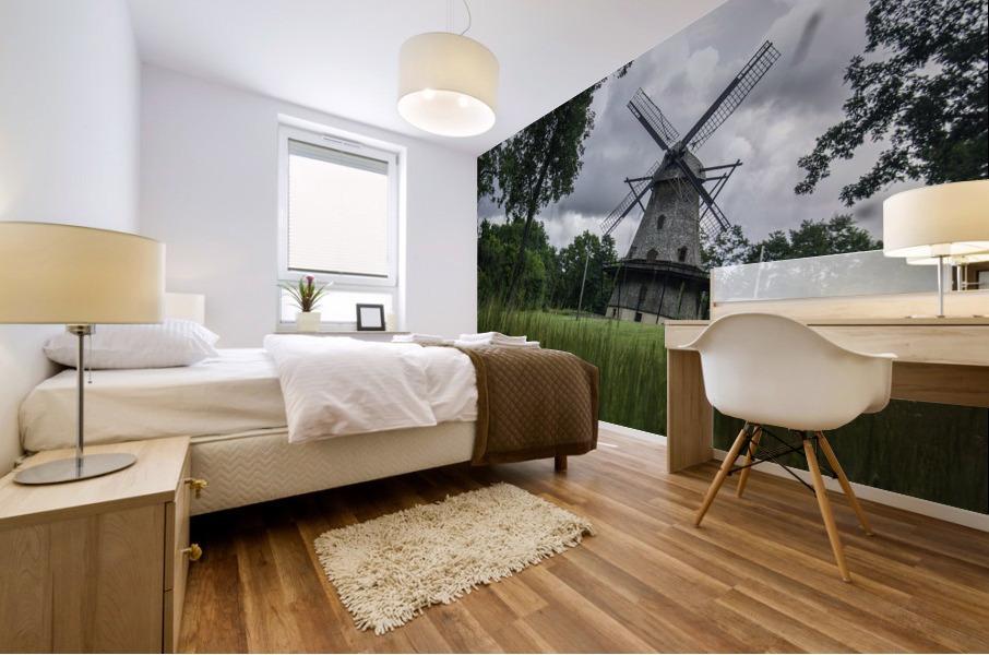 Windmill in a Storm Mural print