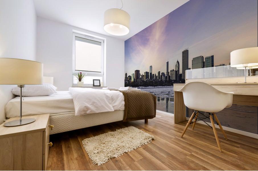 Chicago Skyline at Dusk Mural print