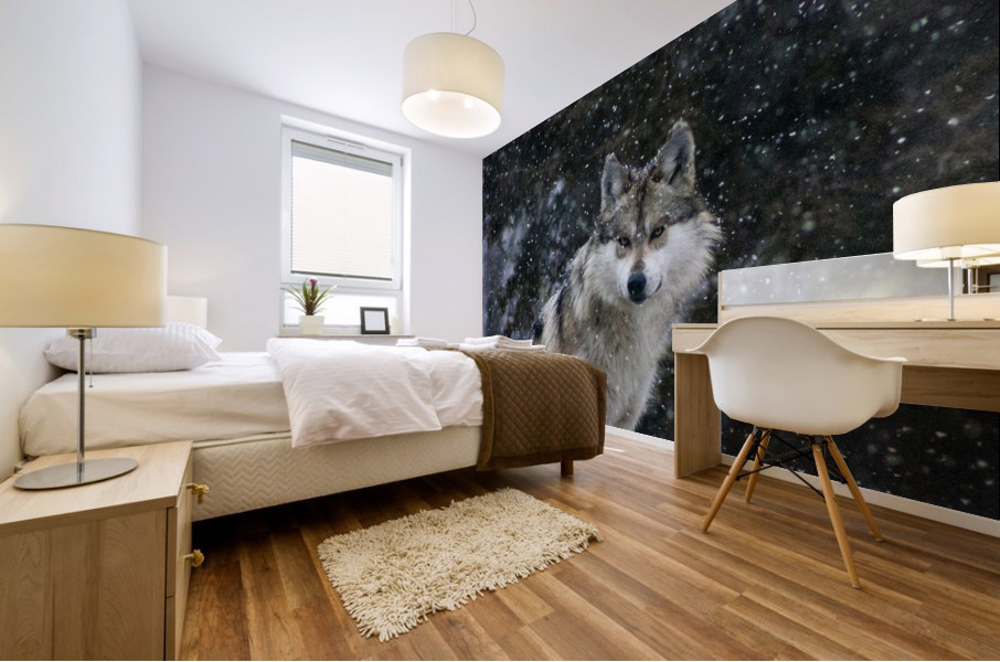 Cold Night Wolf Mural print