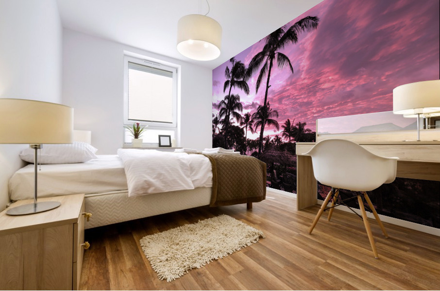 After the Beach Party - Tropical Sunset Hawaii Mural print