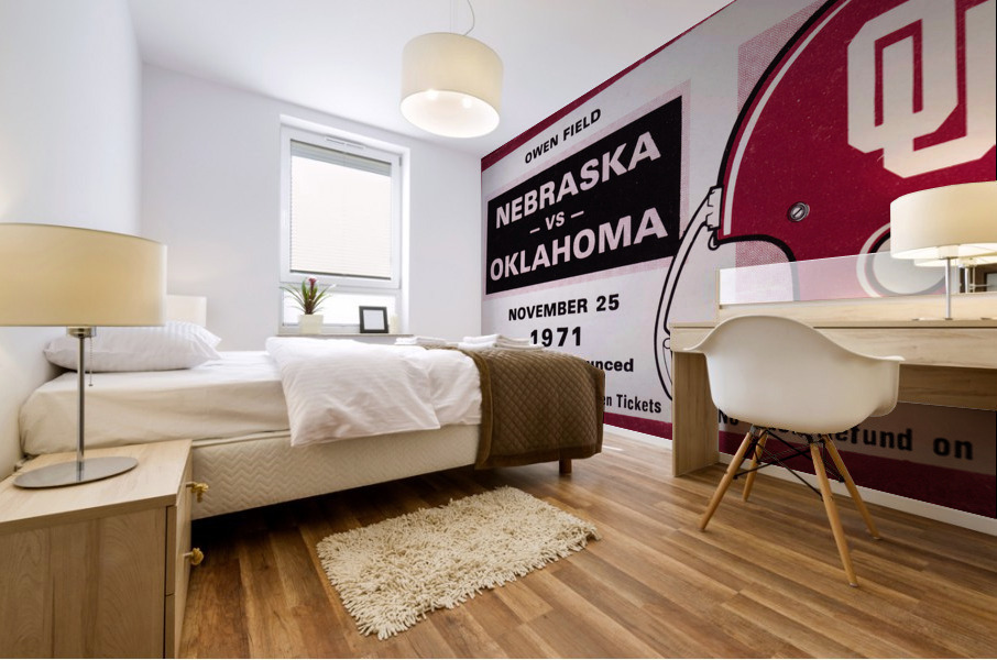 1971 Oklahoma Sooners vs. Nebraska Cornhuskers Remix Mural print