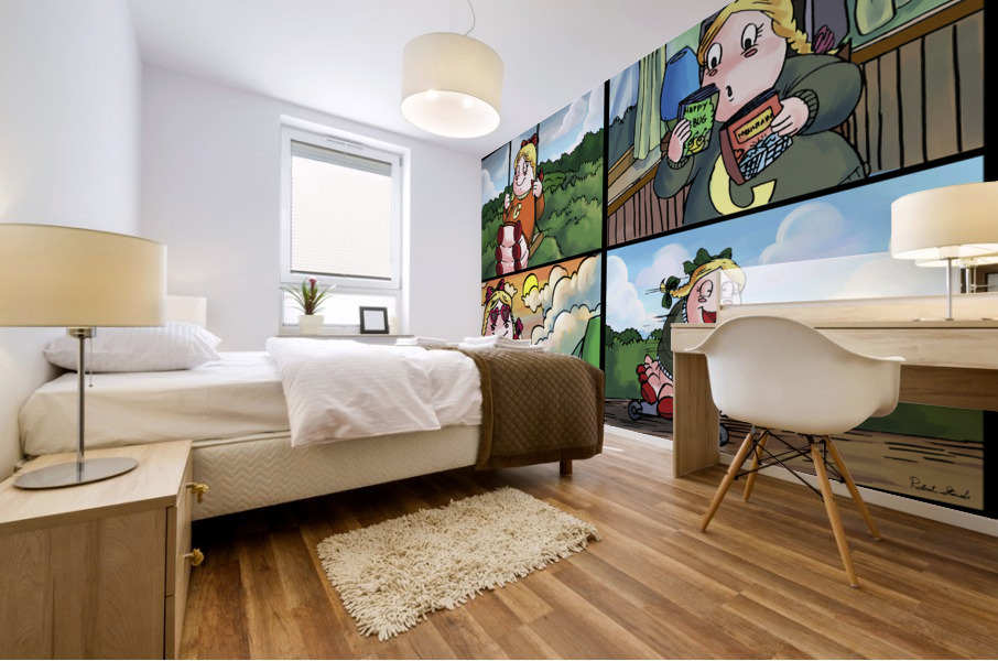 Cat the Caterpillar in Action   4 panel Favorites for Kids Room and Nursery   Bugville Critters Mural print