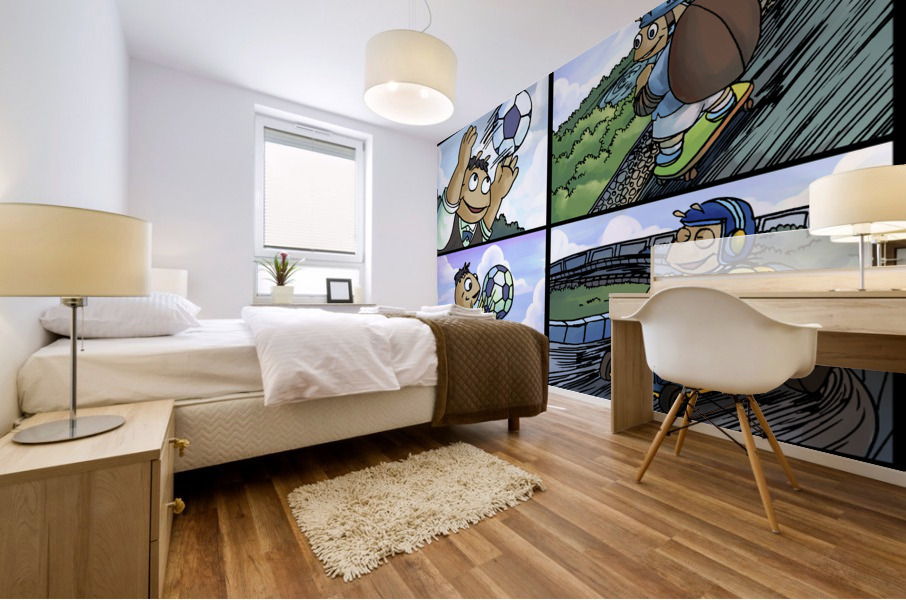 Barry the Beetle in Action   4 panel Favorites for Kids Room and Nursery   Bugville Critters Mural print