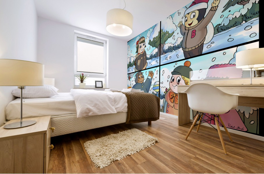Winter Wonderland Fun   Playing in the Snow   4 panel Favorites for Kids Room and Nursery   Bugville Critters Mural print