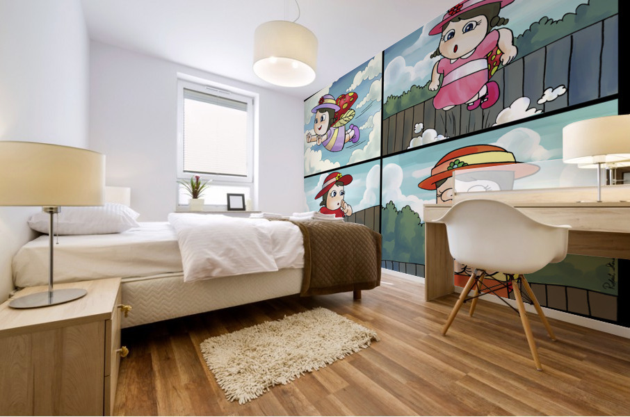 Lass the Ladybug on the Go   4 panel Favorites for Kids Room and Nursery   Bugville Critters Mural print