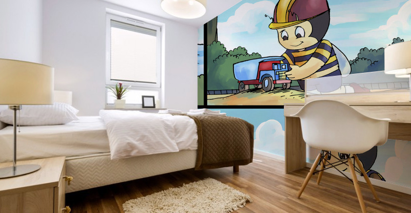 Buster the Bee on the Go   4 panel Favorites for Kids Room and Nursery   Bugville Critters Mural print