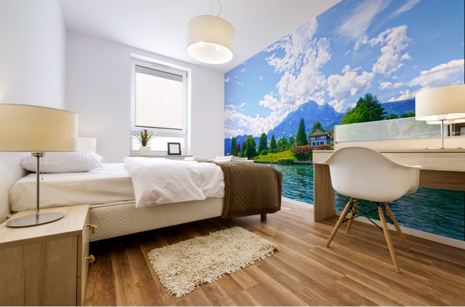 Perfect Day on the shores of Lake Lucerne Switzerland Mural print