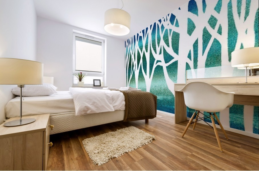 Blue Teal Forest  Mural print