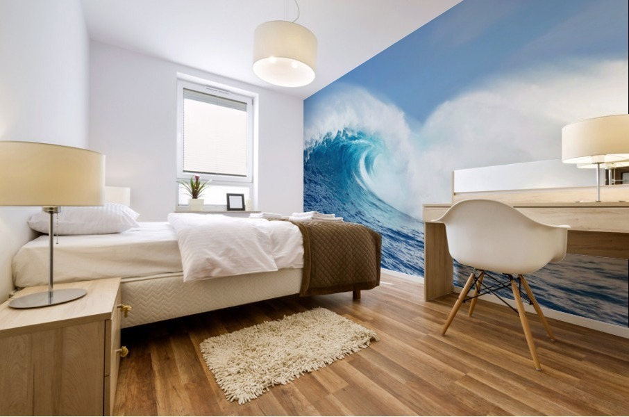 A large ocean wave breaks at the big wave spot know as Jaws or Peahi; Maui, Hawaii, United States of America Mural print