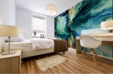 Oil Painting Abstract Color Line Wave Design Mural print