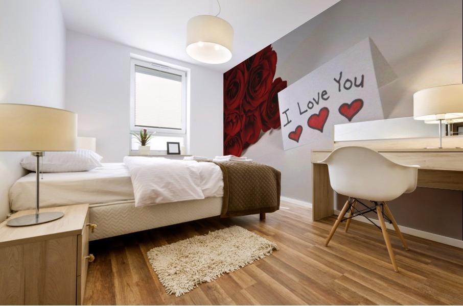 I Love You Card Beside Roses Mural print