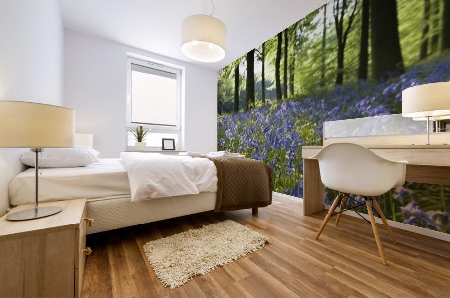 Bluebells On Forest Floor Mural print