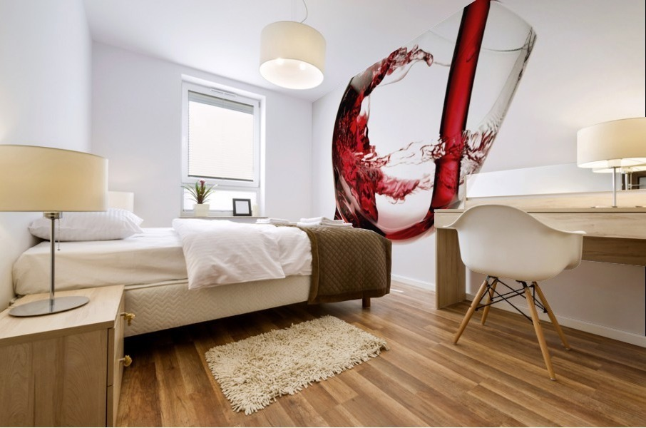 Red wine pouring into a glass Mural print