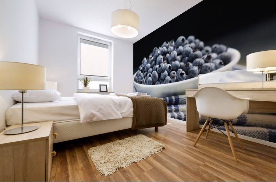 Bowl of blueberries; Quebec, Canada Mural print