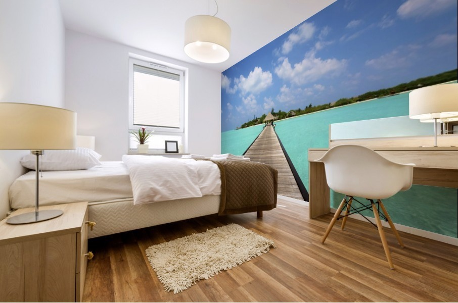 Jetty with cabana over crystal clear turquoise sea, Maldives Mural print