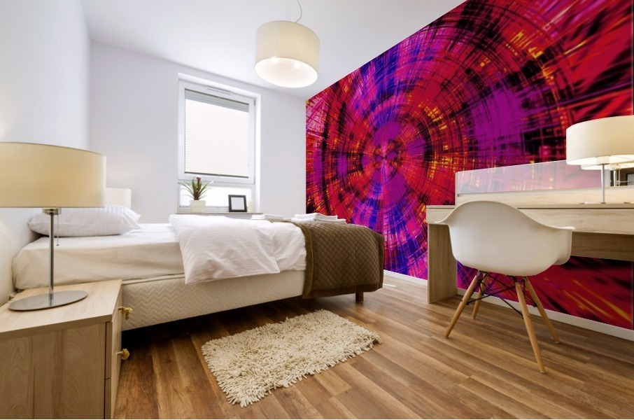geometric red blue pink and yellow circle plaid pattern abstract background Mural print