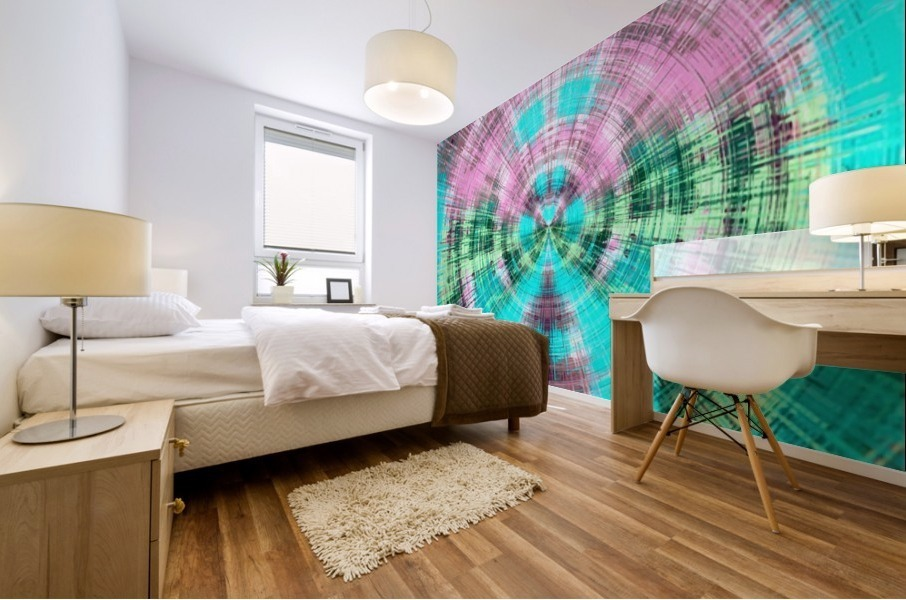 geometric pink blue and green circle plaid pattern abstract background Mural print