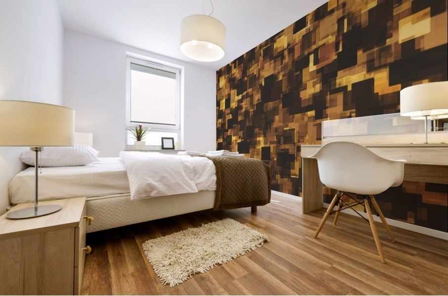 geometric square pattern abstract in brown and black Mural print