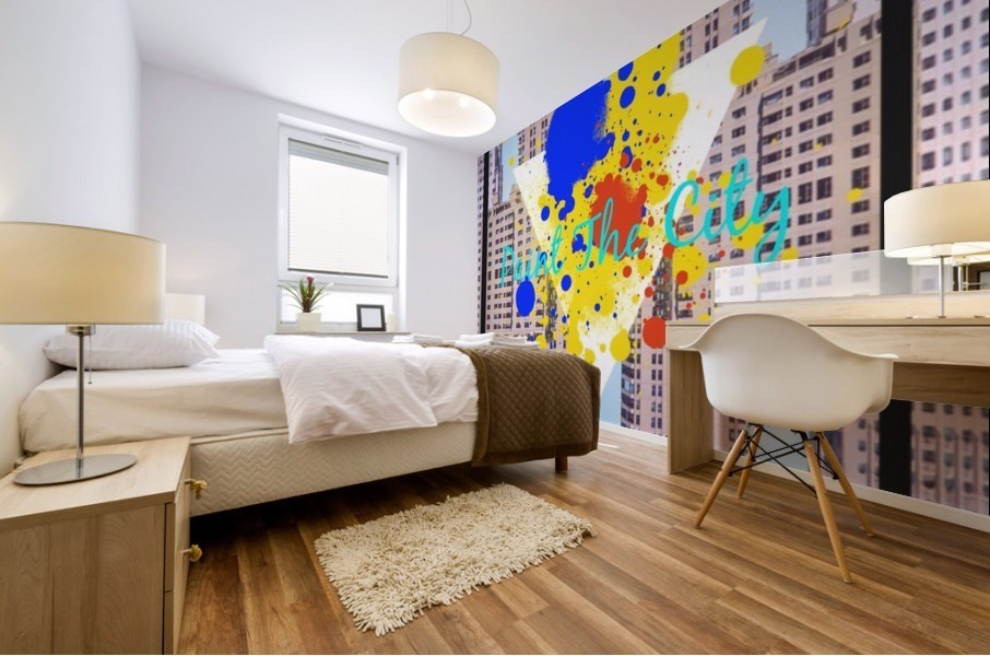 paint the city yellow blue and orange with buildings background Mural print