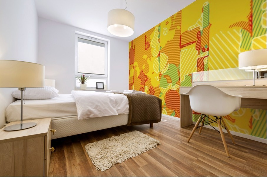 graffiti drawing abstract pattern in yellow brown and blue Mural print