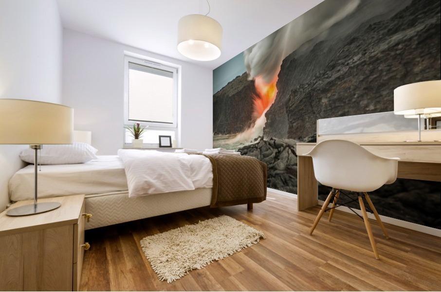 Lava Entering the Ocean Mural print