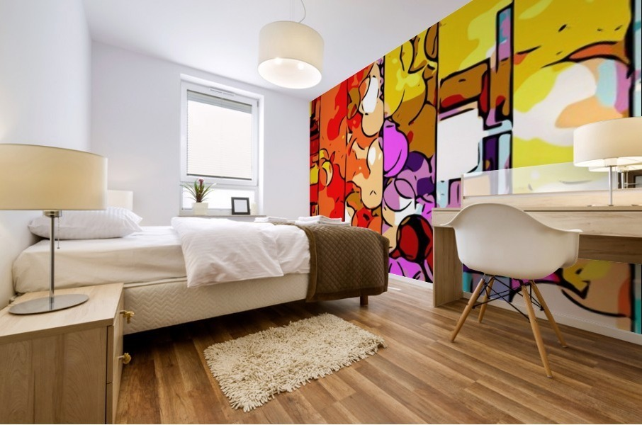 psychedelic geometric graffiti drawing and painting in orange pink red yellow blue brown purple and yellow Mural print