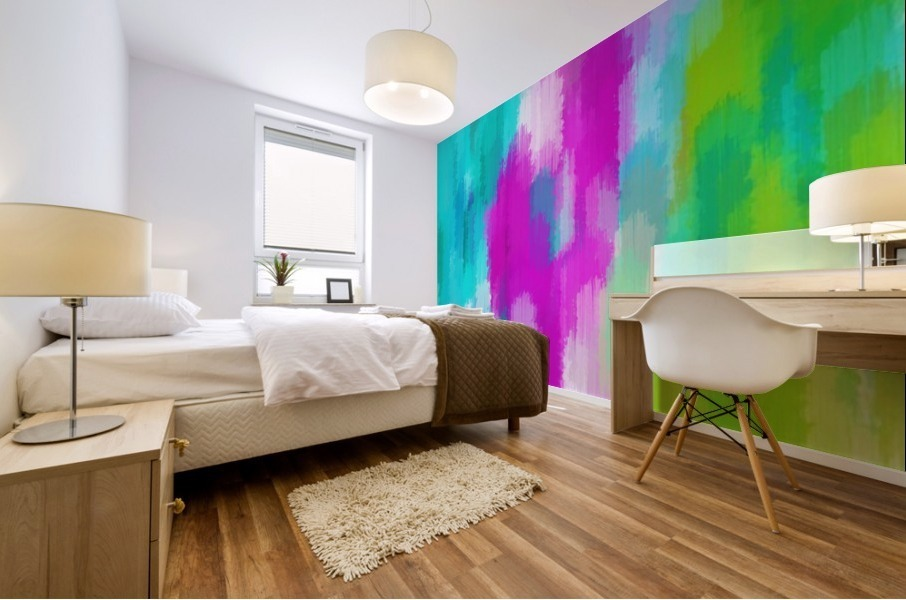 blue pink and green painting abstract background Mural print