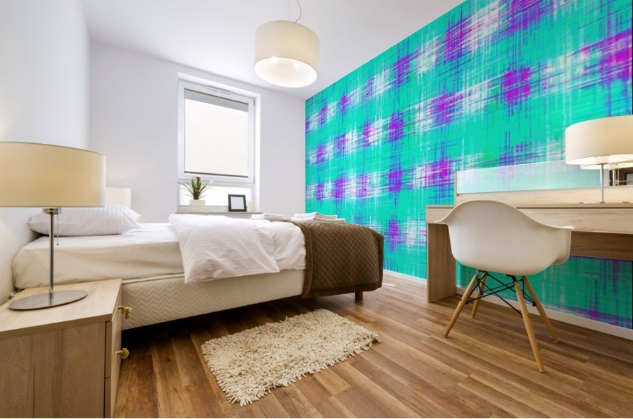 plaid pattern graffiti painting abstract in blue green and pink Mural print