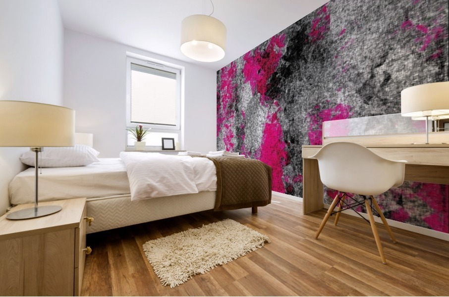 vintage psychedelic painting texture abstract in pink and black with noise and grain Mural print