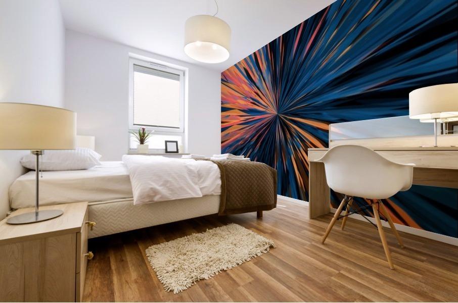 psychedelic splash painting abstract pattern in orange brown pink blue Mural print