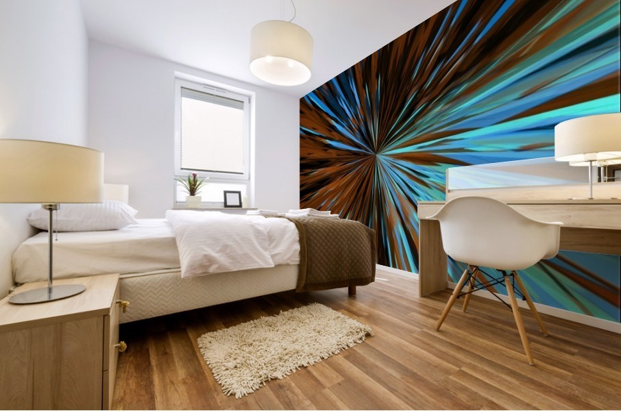 psychedelic splash painting abstract pattern in brown and blue Mural print