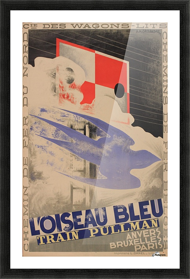 7374.L/'oiseau bleu.train pullman.blue bird flying.POSTER.art wall decor