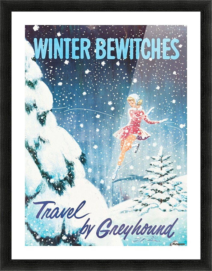 Winter Bewitches Vintage Greyhound United States Travel Advertisement Poster