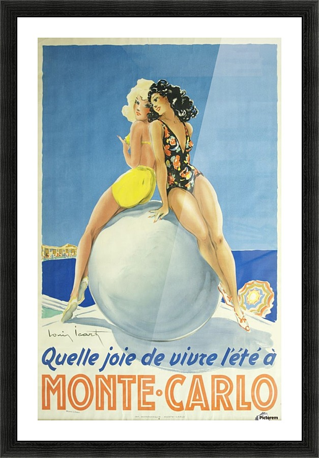 Vintage print model old painting poster canvas framed Monte Carlo