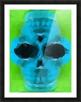 psychedelic skull art geometric triangle abstract pattern in blue and green Picture Frame print