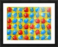 geometric polygon abstract pattern yellow blue red Picture Frame print