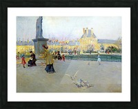 City view with figures and birds in Paris Picture Frame print