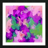psychedelic geometric polygon pattern abstract in pink purple green Picture Frame print