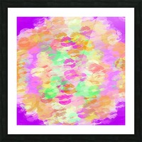 sexy kiss lipstick abstract pattern in pink orange yellow green Picture Frame print