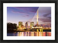 City Skyline, Red River And Provencher Bridge At Dusk, Winnipeg, Manitoba Picture Frame print